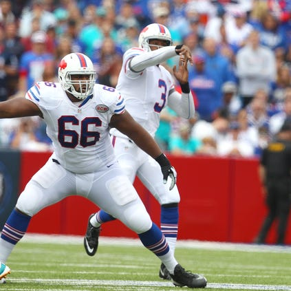 Bills offensive tackle Seantral Henderson sets up in pass protection for quarterback EJ Manuel.