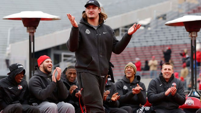 Ohio State Buckeyes defensive lineman Joey Bosa at the national championship celebration at Ohio Stadium in January.