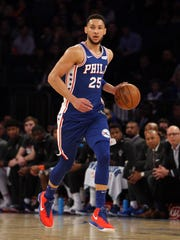 Philadelphia 76ers point guard Ben Simmons (25) controls the ball against the New York Knicks during the first quarter at Madison Square Garden.