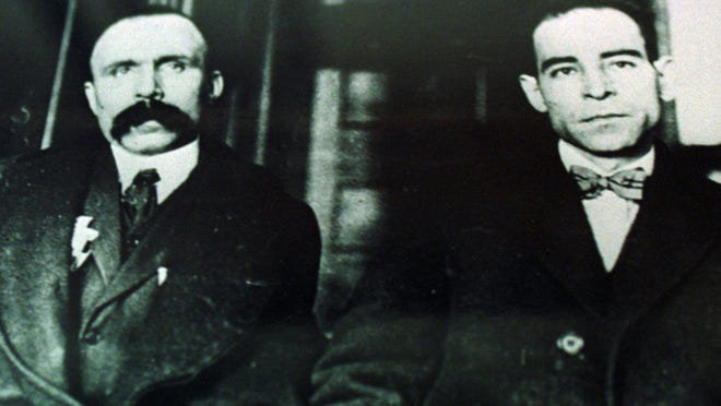 Nicola Sacco (left) and Bartolomeo Vanzetti were executed on Aug. 23, 1927, for murdering two men in Boston.
