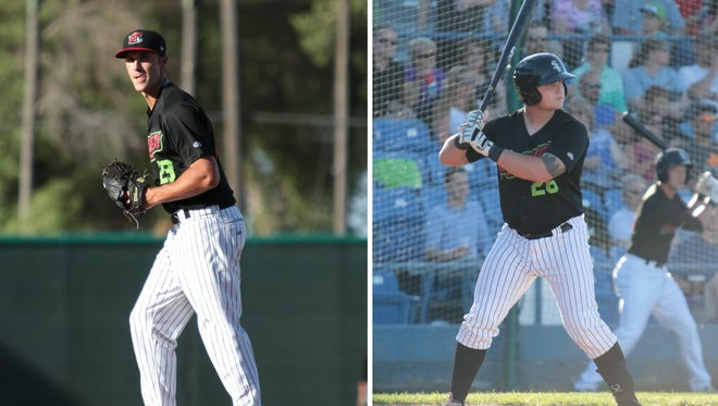 Lakeview graduate Evin Einhardt (left) and Gull Lake graduate Zach Fish have been named to the Pioneer League All-Star team as members of the Great Falls Voyagers.
