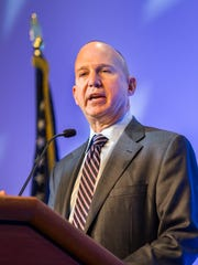 Gov. Jack Markell speaks at an event in Wilmington on Jan. 12. Delaware revenue projections fell $45 million earlier this month. Lawmakers and the Markell are trying to fund transportation improvements.