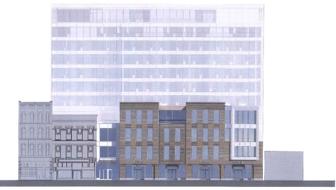 A rendering of the front side of Harold's Square. The rendering was created in 2016.
