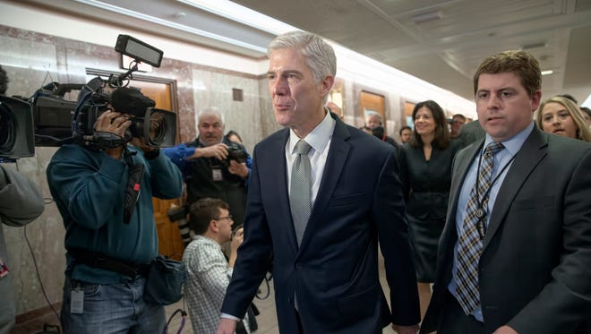 Supreme Court nominee Neil Gorsuch on Capitol Hill on Feb. 9, 2017.