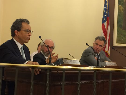 Glen Ridge Councilman David Lefkovits, at left, speaks about sanctuary cities during a Monday, March 27, 2017 Borough Council meeting.
