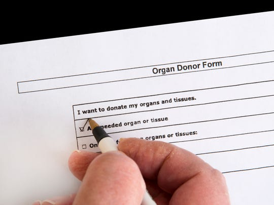 An organ donor form