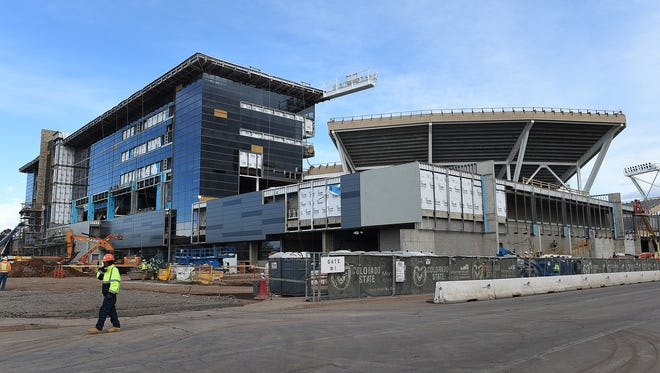 The new on-campus stadium at CSU, shown during construction in January, is near full completion in advance of the first game on Aug. 26.