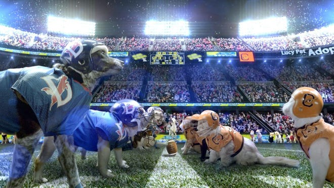Cats and dogs face each other on the line of scrimmage in a scene from a fanciful Cats vs. Dogs football commercial scheduled to appear on Super Bowl Sunday, Feb. 1, 2015, to be shown during the Hallmark Channel's Kitten Bowl.