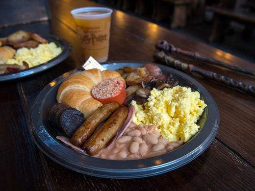 A proper English breakfast is served at the Leaky Cauldron