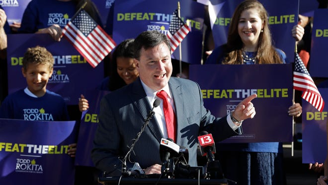 Indiana Rep. Todd Rokita speaks during a news conference outside the Indiana Statehouse as he enters the Republican Senate primary in an effort to unseat Sen. Joe Donnelly, Wednesday, Aug. 9, 2017.