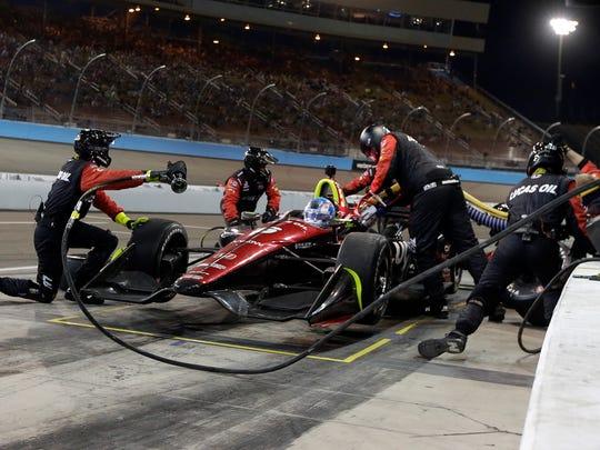 Robert Wiggins pits on the 104th lap during the IndyCar auto race Saturday, April 7, 2018, at Phoenix International Raceway in Avondale, Ariz. (AP Photo/Rick Scuteri)