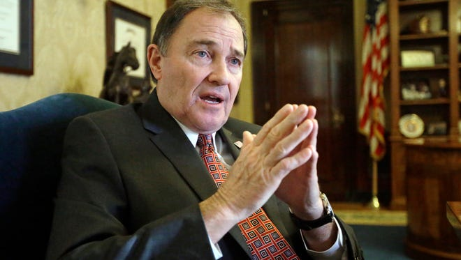 Thie March 10, 2016 file photo Utah Gov. Gary Herbert speaks during an interview in Salt Lake City. The Utah governor is considering whether to sign a bill that would make Utah the first state to require doctors to give anesthesia to women having an abortion at 20 weeks of pregnancy or later.