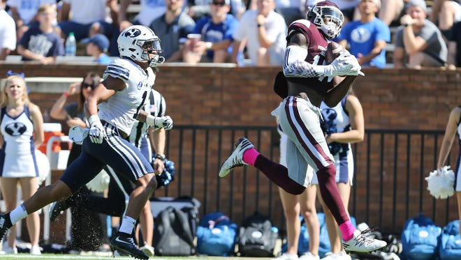 Mississippi State's Jamal Couch (17) catches a touchdown pass from Mississippi State's Nick Fitzgerald. Mississippi State and BYU played in a college football game on Saturday, October 14, 2017 in Starkville. Photo by Keith Warren