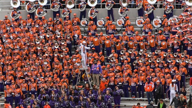 Clemson Tiger Band play during the first quarter in Memorial Stadium at Clemson on Saturday.