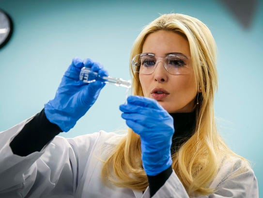 Ivanka Trump, adviser to the president, uses a pipette