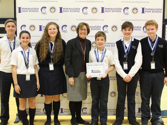 Students from Immaculate Conception School in Somerville took second-place honors at the recent Scholastica competition conducted at Immaculata High School.