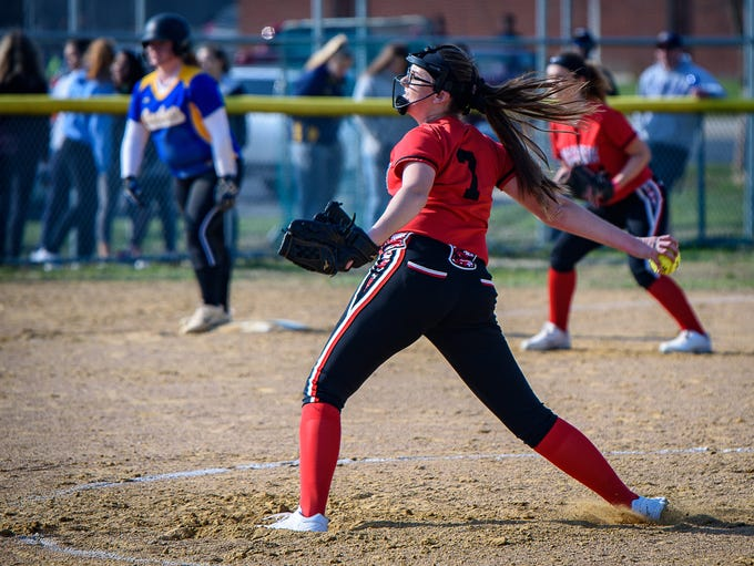 Arcadia High School pitcher Hailey Berry winds up during