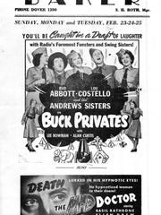 "Abbott and Costello were popular in the Lake Hopatcong area, just like everywhere else in America as seen in 1941's ""Buck Privates"" flyer from Dover's Baker Theatre."
