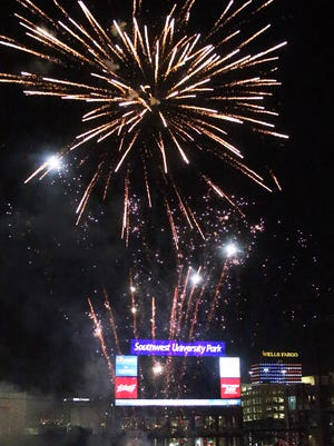 A professional fireworks show, similar to the one at Southwest University Park shown in this photo, will be part of the July 4th celebration at Ascarate Park.