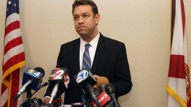 File photo: Former Congressman Trey Radel addresses the media 11/20/13 at his office in Cape Coral.