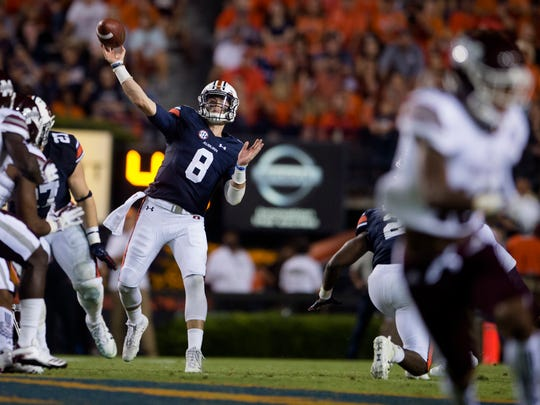 Auburn quarterback Jarrett Stidham (8) throws a pass  during the NCAA football game between Auburn and Mississippi State on Saturday, Sept. 30, 2017 in Auburn, Ala.