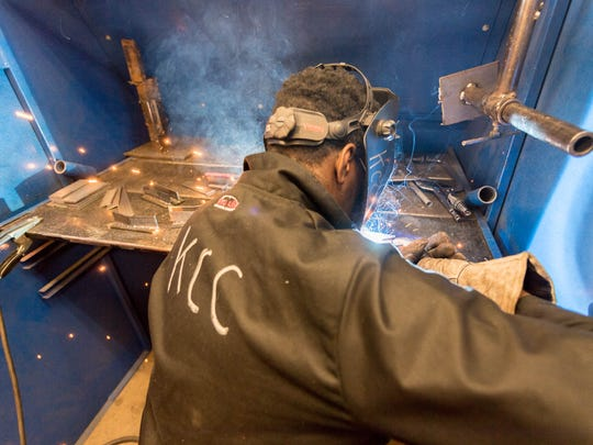 Richard Ferguson works on his welding skills at the Regional Manufacturing Technology Center on Thursday, Oct. 12, 2017.