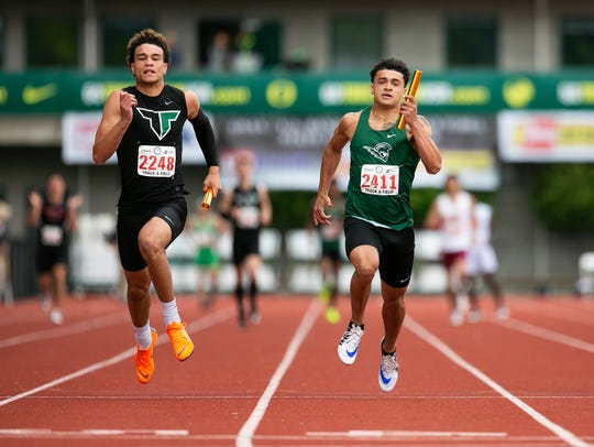 West Salem's Anthony Gould crosses the finish line
