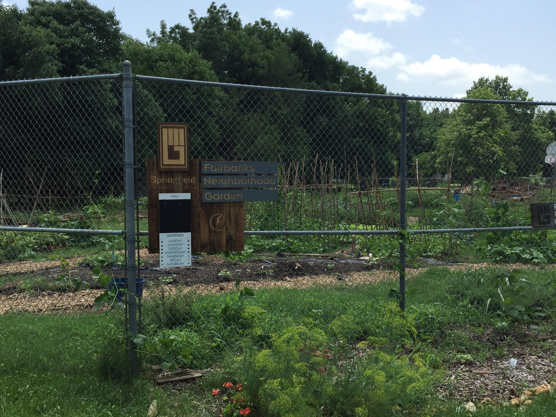 A community garden sits next to the old Fairbanks school,