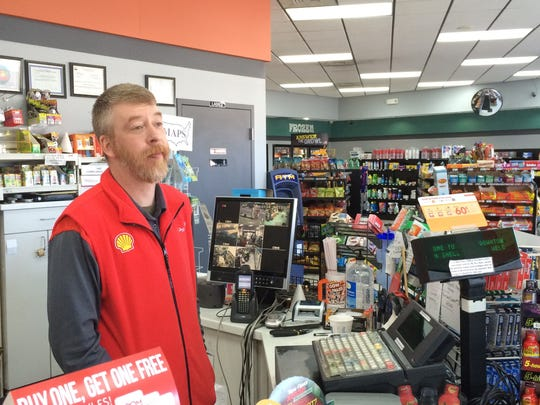 Downtown Shell store manager Ryan Baenen says customers ask about alcoholic beverage sales five times a week on average.