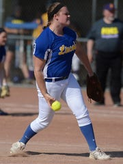 Lincoln's Sydney Griffin releases a pitch during a