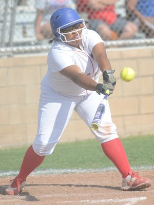Cooper's Adora Garcia grounds out to third base in the second inning against Lubbock Coronado pitcher Marissa Salinas. Salinas threw a no-hitter in the Lady Mustangs' 5-0 victory over Cooper in a District 4-5A game Friday, April 21, 2017 at Cougar Diamond.
