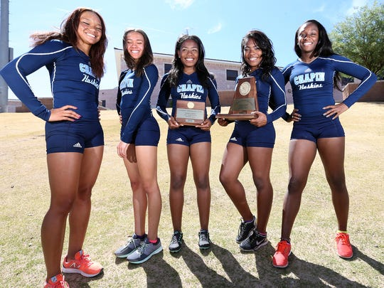 Five state qualifiers for Chapin High School will compete in the state track and field championships Friday in Austin. They are from left: Shailah Thornton, Jadsia Warden, Autumn Brown, Ashley Brown and Jourdin Bailey.