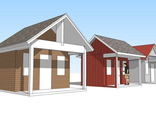 A schematic rendering of the tiny homes that would
