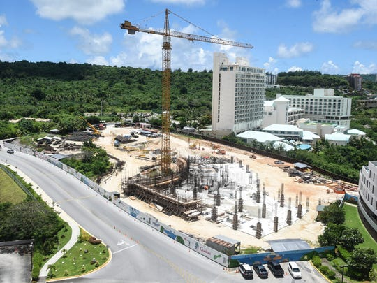 An overview look of the construction site of the Tsubaki Tower, as seen in Tumon, on Wednesday, Aug. 23, 2017. The hotel project, started in March 2016 by Tokyo real estate giant Ken Corp., is slated to reach a height of 26-stories and cost an estimated $150 million to build, according to Pacific Daily News files.