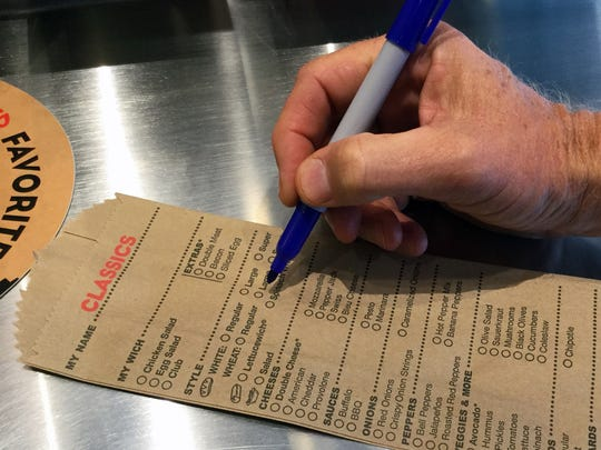 There is no pressure or time limit when ordering a sandwich at Which Wich. Customers can take their time building their favorite sub using order sandwich bags.