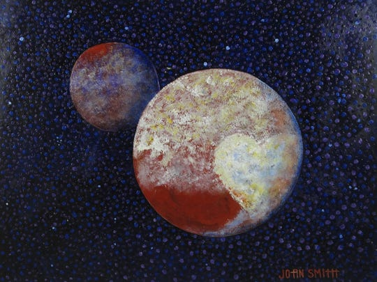 """Pluto and Charon"" by Jo-an Smith was inspired by photos taken last year by the New Horizons probe."