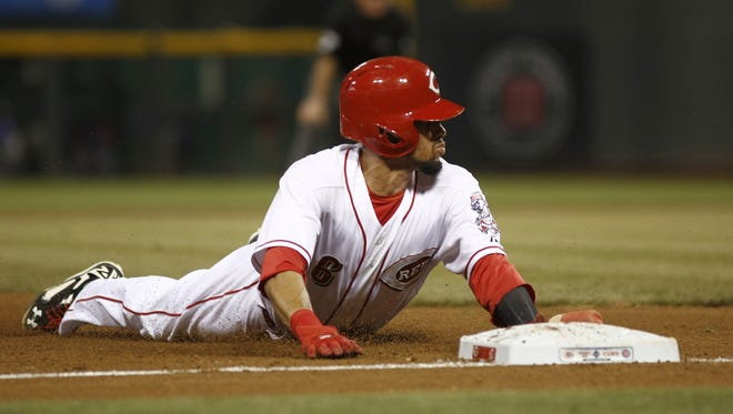 Billy Hamilton stole his 50th base of the season on Wednesday, taking third in the fourth inning without a throw.