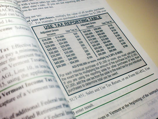 Use tax reporting table from Vermont income tax return