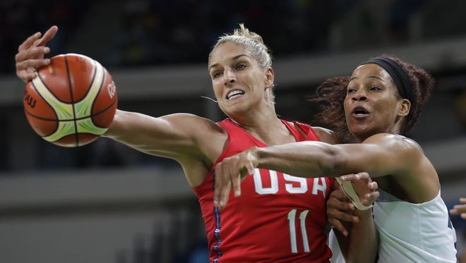 Elena Delle Donne (11) and France's Marielle Amant, right, reached for the ball during a women's semifinal round basketball game at the 2016 Summer Olympics in Rio de Janeiro, Brazil. Elena Delle Donne has always tried to give back and help others, so it's no surprise that her wedding to Amanda Clifton on Nov. 3 will have a major charitable component. From the floral arrangements that will be donated to nearby senior centers and women's shelters to the wedding registry that will benefit Delle Donne's foundation, the pair will be helping others. Delle Donne's foundation supports the Special Olympics and victims of Lyme disease.