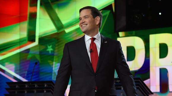Marco Rubio is introduced during the CNN presidential debate in Las Vegas.