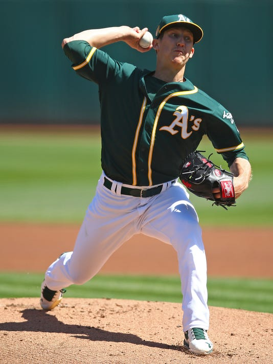 Oakland Athletics pitcher Daniel Gossett works against the Los Angeles Angels during the first inning of a baseball game Sunday, April 1, 2018, in Oakland, Calif. (AP Photo/Ben Margot)