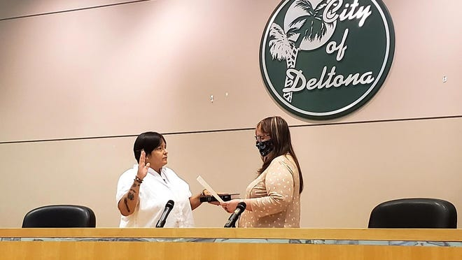 Dana McCool is sworn in as the commissioner for District 4 in Deltona during a special meeting on Monday, July 13, 2020. The seat was previously held by Robert McFall, who resigned on June 15.