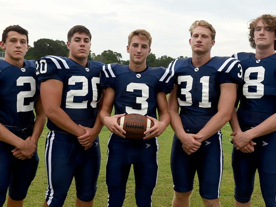Westminster Christian's defensive standouts Brock Bullara (2), Zach Thomas (20), Connor Lyons (3), Ken Jones (31) and Judah Barber (8) are ready to make big strides in 2016.