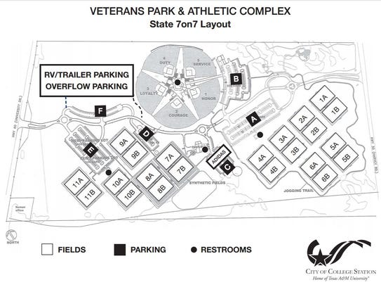 A map of Veterans Park & Athletic Complex, site of