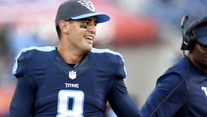 Dec. 6, 2015: Titans quarterback Marcus Mariota after his 87-yard touchdown run against the Jaguars.