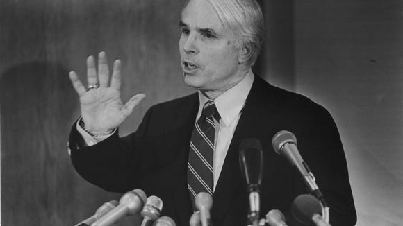 Sen. John McCain at a 1989 press conference in Phoenix addressing his ties with Charles H  Keating Jr.