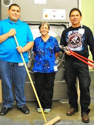 From left, are Alex Valencia, Housekeeping; Dolores Cendretta, Laundry; and Steve Delgado, Facility Maintenance.