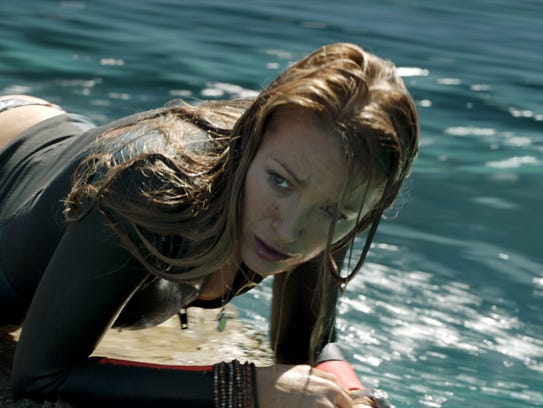"Nancy (Blake Lively) battles a shark in ""The Shallows."""