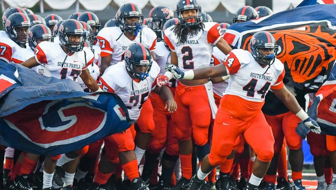 South Panola High School hits the field during pre-game action Friday, August 25th, 2017 in Brandon, MS.(Bob Smith-For the Clarion Ledger)