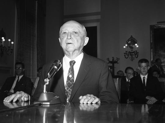 Edward Ball appears in Washington, D.C., on June 24, 1964, before the House Banking Committee. Ball was principal trustee of the Alfred I. DuPont estate.
